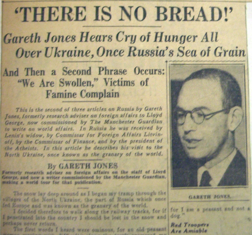 Gareth Jones Famine Article 'There is NoBbread' - 13 jan 1935 Hearst newspapers