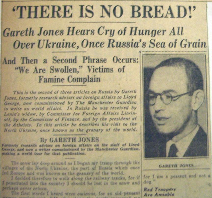 Gareth Jones Famine Article 'There is NoBbread' - 13 jan 1935 Hearst newspapers